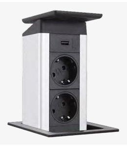 Evoline Port Push 2x230V / 1x USB lader - deksel RVS