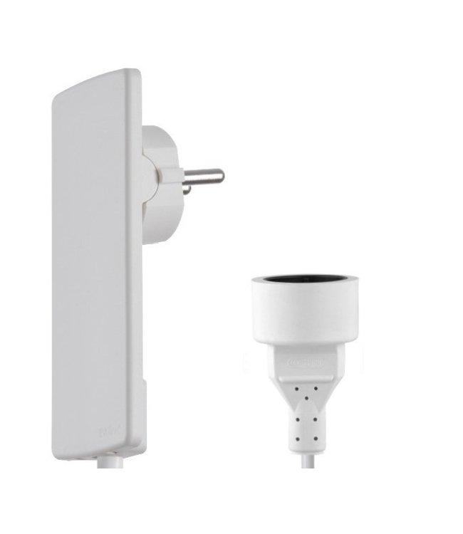 Evoline Plug platte stekker met kabel en plug - Wit