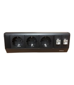 Evoline Dock Data Small 3x230V / 2xRJ45 - met klem - Zwart