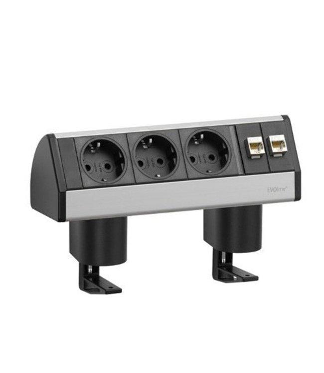 Evoline Dock Data Small 3x230V /2x RJ45 - met 2 klemmen