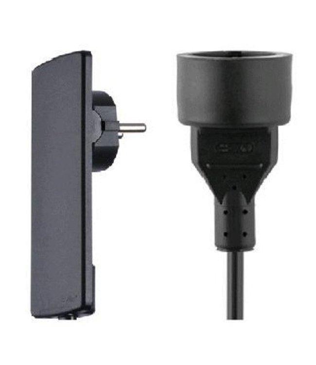 Evoline Plug platte stekker met kabel en plug - Zwart