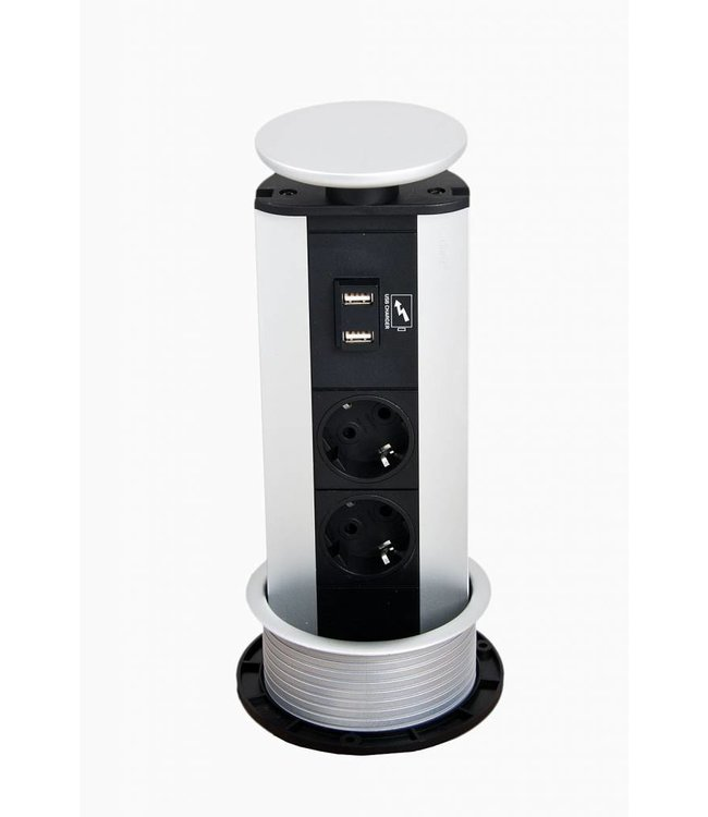 Evoline Port ALU (2x230V)( 2x USB lader)
