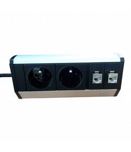 Evoline Dock Desk Data met Klem (2x230V)(2x RJ45) PEN aarde (BELGIË)