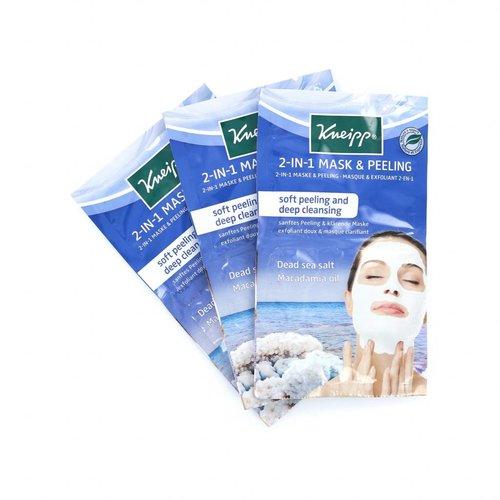 Kneipp 2-in-1 Mask & Peeling - Dead Sea Salt Macadamia Oil (3 sets van 2 maskers)
