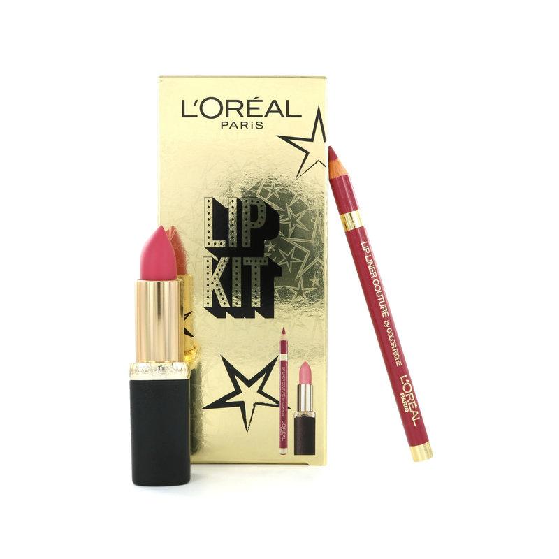 L'Oréal Lip Kit - Color Riche Lippenstift Matte 104 Strike A Rose + Lip Liner 258 Berry Blush