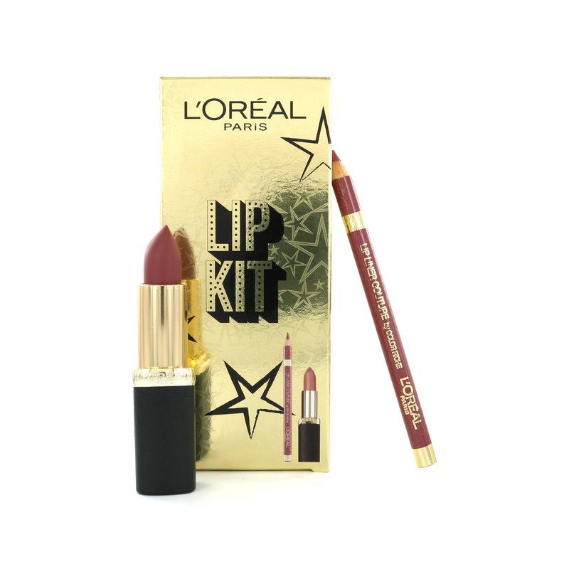 L'Oréal Lip Kit - Color Riche Lippenstift Matte 636 Mahogany Studs + Lip Liner 302 Bois De Rose