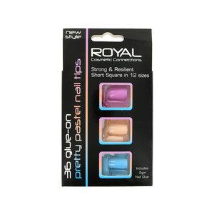 Pretty Pastel Nail Tips - Roze-Nude-Blauw (met nagellijm)