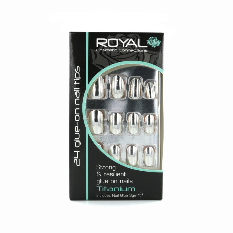 Royal 24 Glue-On Nail Tips - Titanium (Met nagellijm)