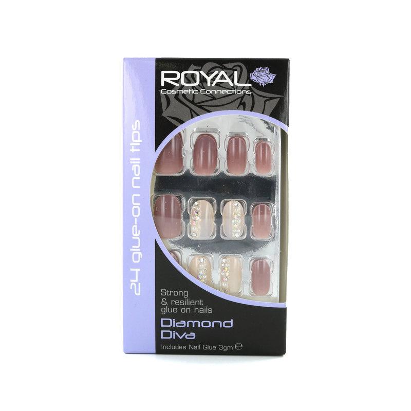 Royal 24 Glue-On Nail Tips - Diamond Diva (Met nagellijm)