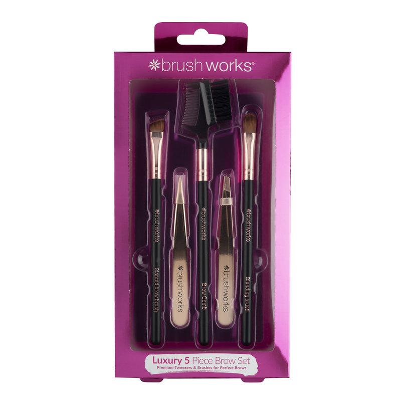 Brushworks HD Luxury Brow Set - Rose Gold