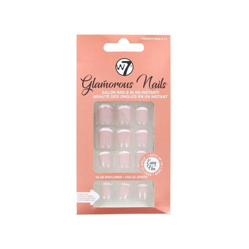 W7 Glamorous Nails - French Nails 01 (met nagellijm)