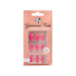 Glamorous Nails - Flaming Coral (met nagellijm)