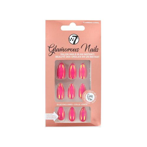 W7 Glamorous Nails - Flaming Coral (met nagellijm)