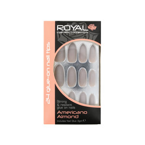 24 Glue-On Nail Tips - Americano Almond (met nagellijm)