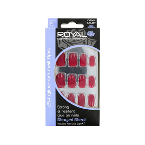 24 Glue-On Nail Tips - Royal Red (met nagellijm)