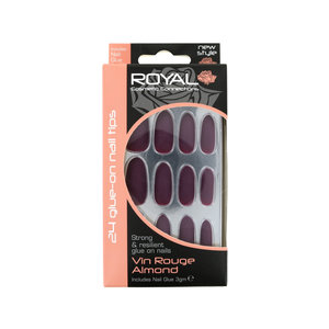 24 Glue-On Nail Tips - Vin Rouge Almond (met nagellijm)