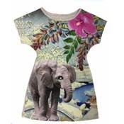 De kunstboer Gecentreerd kleedje met korte mouwen met print van een olifant