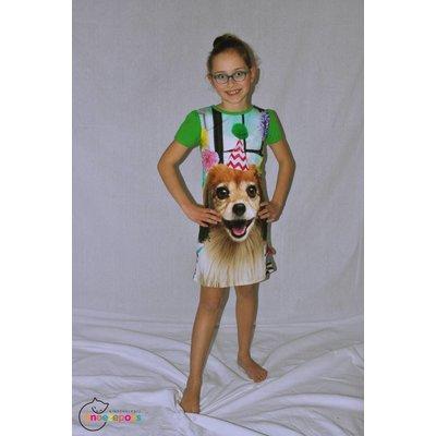 De kunstboer Mooi groen kleedje met korte mouwen en party-hond