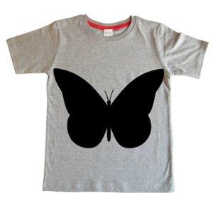 Little Mashers Grijze krijt T-shirt met vlinder