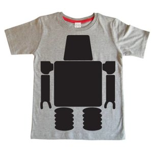 Little Mashers Grijze krijt T-shirt met robot