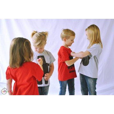 Little Mashers Rode T-shirt met superpower in krijtstof