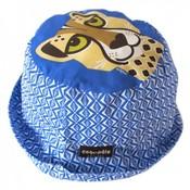 Coq en pâte blauw zonnehoedje met een cheetah