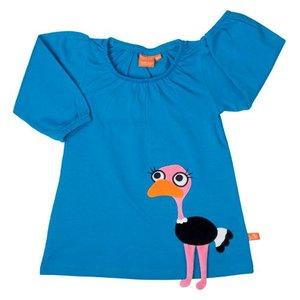 Lipfish Blauw kleedje met een struisvogel