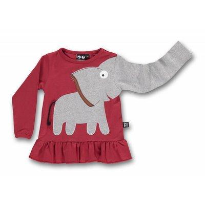 ubang Rode longsleeve met ruffles 'olifant'