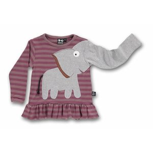 ubang Gestreepte longsleeve met ruffles 'olifant'