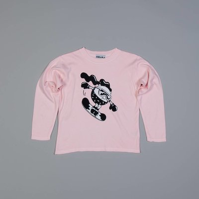 Shapes of things Lichtroze longsleeve met snowboardgirl