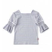 little label Wit- blauw gestreepte T-shirt met leuk afgewerkte mouw!