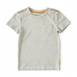 little label T-shirt loose fit 'creme black stripe'