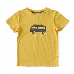 little label Warm yellow T-shirt 'beach time'