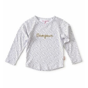 little label Raglan shirt 'bonjour'