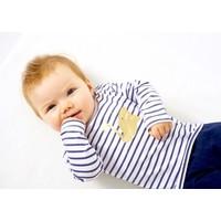 little label Baby shirt blue white stripe 'swan'