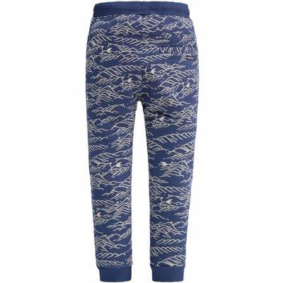 Tumble 'n dry Blauwe jogpant 'driezen' met een print vangolven en verstopte haaien