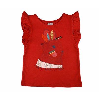 Baba-Babywear Rode ruffle T-shirt met een konijn