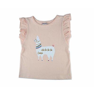 Baba-Babywear Roze ruffle T-shirt 'lama'