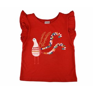 Baba-Babywear Ruffle shirt red 'bird'