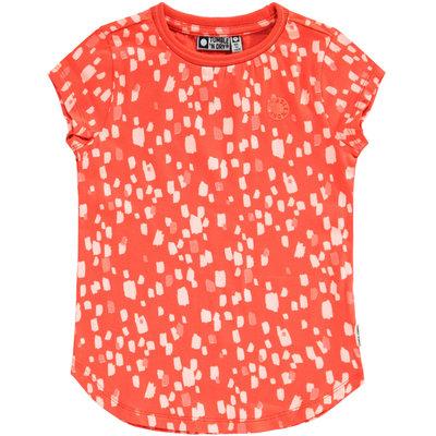 Tumble 'n dry Koraalrode T-shirt met 'verplekken' 'charis'