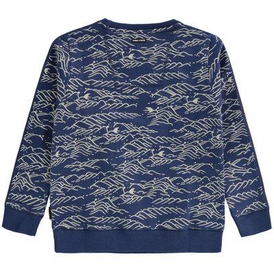 Tumble 'n dry Blauwe trui met golvenprint en haaienvinnen 'dorian'