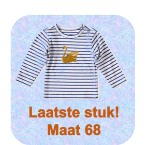 little label Baby shirt blue white stripe 'swan'