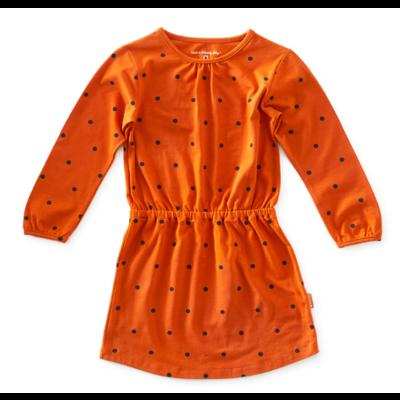 little label Oranje kleedje met blauwe bolletjes