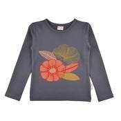 Baba-Babywear Grijze longsleeve met bloemetjes