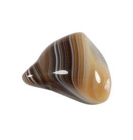 Agaat (Botswana) grijs steen getrommeld 10 - 15 gram