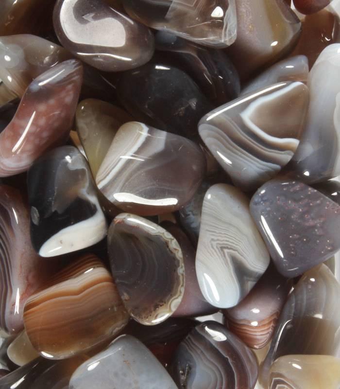 Agaat (Botswana) grijs steen getrommeld 5 - 10 gram