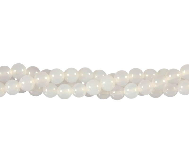 Agaat (wit) kralen rond 6 mm (streng van 40 cm)