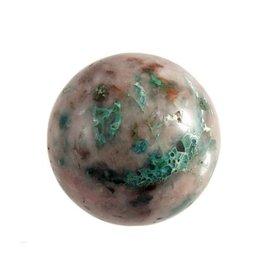 Ajoiet met chrysocolla in kwarts edelsteen bol 61 mm