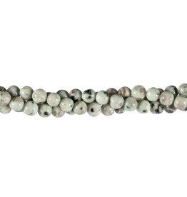 Amazoniet met toermalijn in kwarts kralen rond 6 mm (streng van 40 cm)