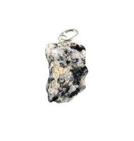 Azeztuliet met zwarte toermalijn hanger ruw met zilveren oogje